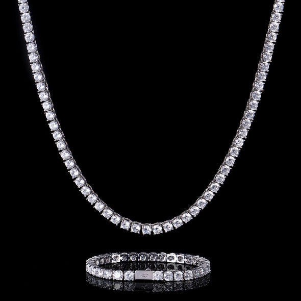 5mm White Gold Tennis Chain and Bracelet Set