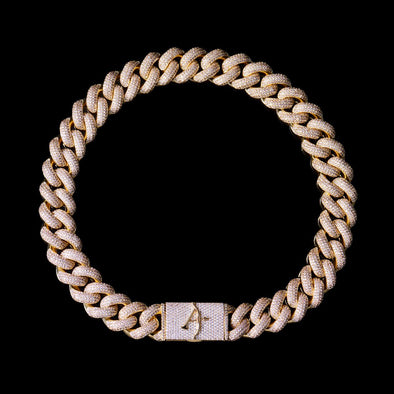 19mm 14k Gold 4-Row Gems Iced Cuban Link Chain
