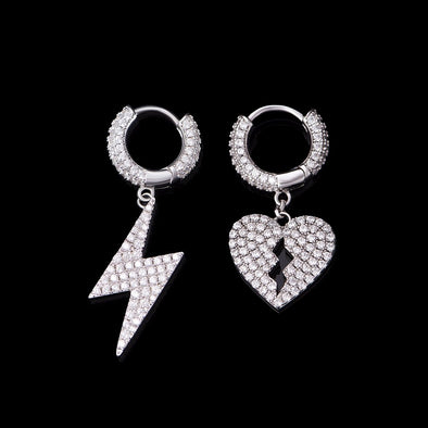 Broken Heart & Lightning Bolt Earrings Set