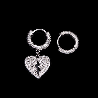 Broken Heart & Circle Hoop Earrings Set