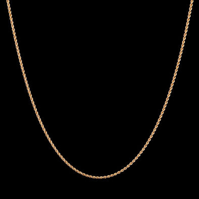 2.5mm 18K Solid Gold Rope Chain