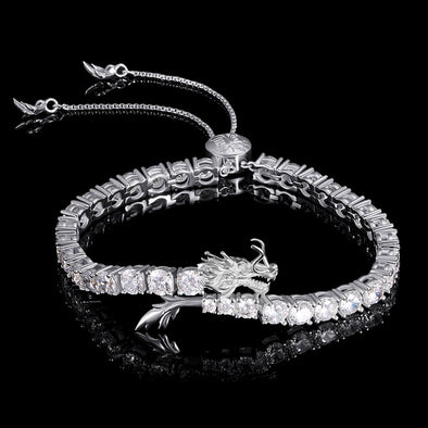 WONG Adjustable Dragon Tennis Bracelet White Gold