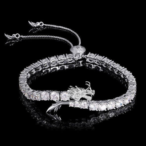 WONG - White Gold Iced Adjustable Dragon Tennis Bracelet