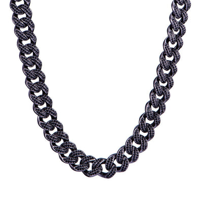 12mm Diamond Cuban Link Chain-18 Karat Schwarzgold 24 ''