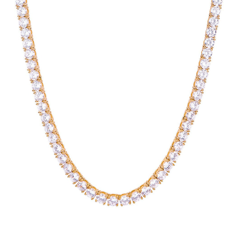 5mm Diamond Tennis Chain-18K Yellow Gold 24''