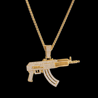 14K Gold Iced AK-47 Rifle