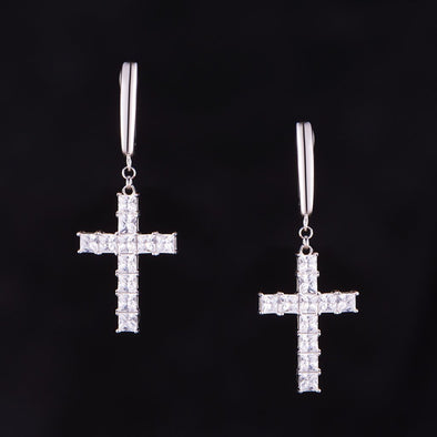 Tennis Cross Earrings in 925 Sterling Silver