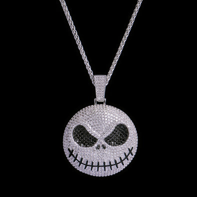 Pendentif Jack Skellington en or blanc Iced