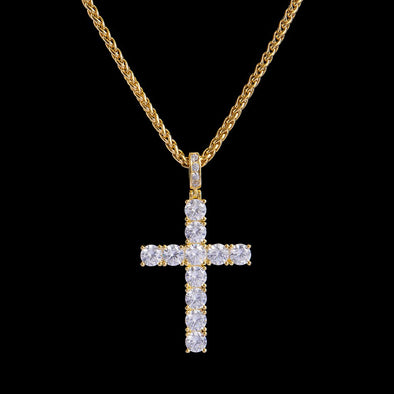 Tennis Cross en Or 14K Iced