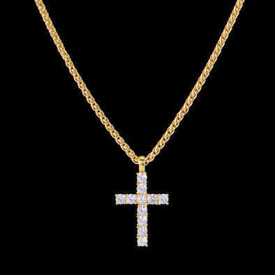 14K Gold Iced Small Tennis Cross