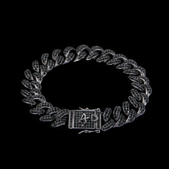12mm Black  Iced Cuban Link Bracelet