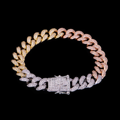 12mm Tri-Colored Iced Cuban Link Bracelet