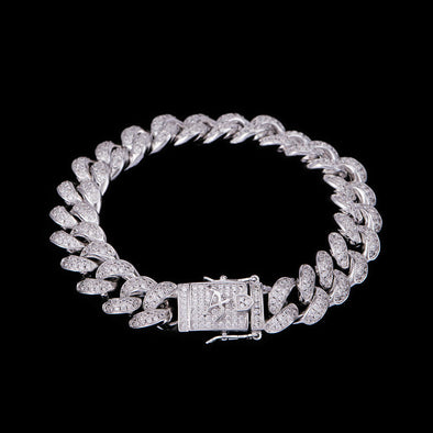 12mm White Gold Iced Cuban Link Bracelet