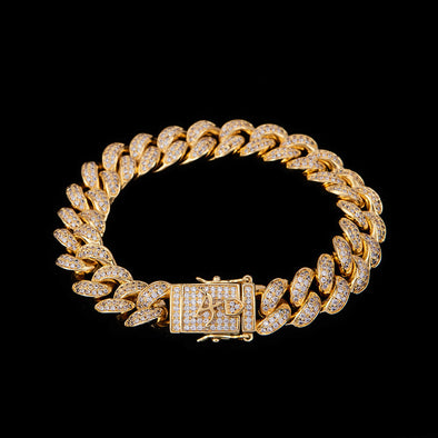 12mm Bracelet Cubain en Or 14K Iced