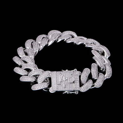 19mm New White Gold Iced Cuban Link Bracelet