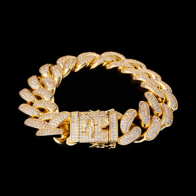 19mm New 14K Gold Iced Cuban Link Bracelet
