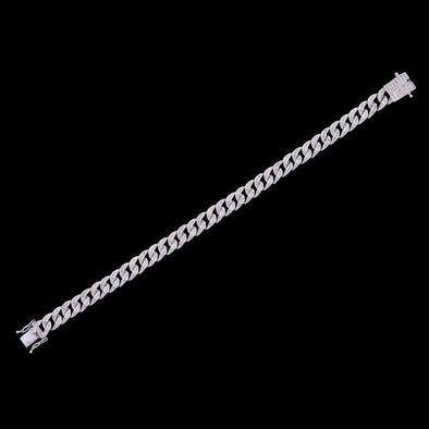 8mm White Gold Iced Cuban Link Anklet