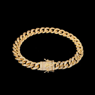 8mm 14K Gold Iced Cuban Anklet
