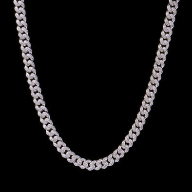 10mm White Gold Iced Women Cuban Choker Chain