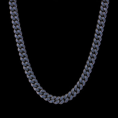 12mm Black Iced Cuban Link Chain With Blue Stones