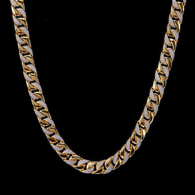 12mm 14K Gold Iced Half Paved Cuban Link Chain