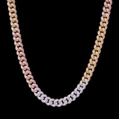 12mm Tri-Colored Iced Cuban Link Chain