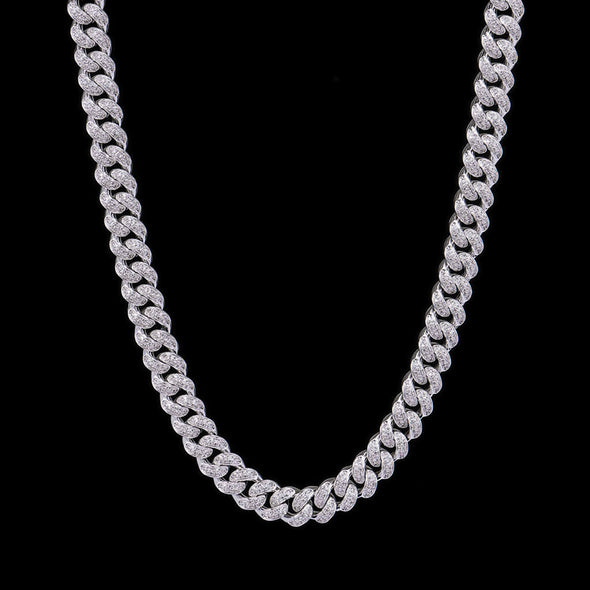 12mm White Gold Iced Cuban Chain