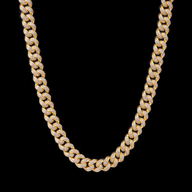 12mm 14K Gold Iced Cuban Chain