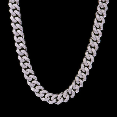 19mm White Gold Iced Cuban Link Chain