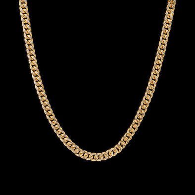 8mm 14K Gold Iced Cuban Link Chain