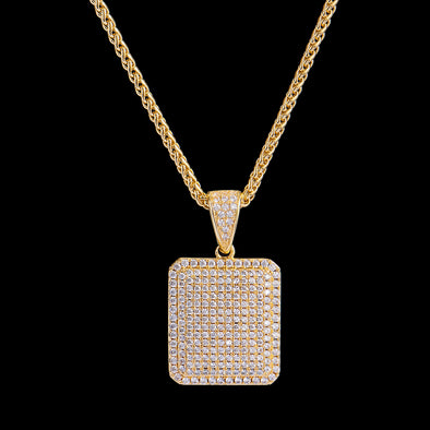 14K Gold Iced Cube Pendant