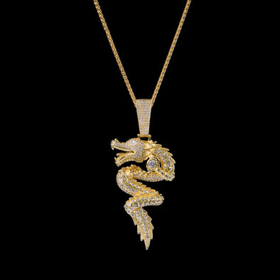 14K Gold Iced Dragon Pendant