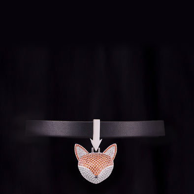 Fox Pendant With Black Leather Choker Chain