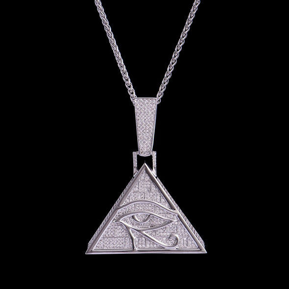 White Gold Iced Eye of Horus Pendant