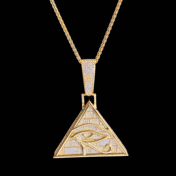 14K Gold Iced Eye of Horus Pendant