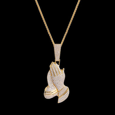 14K Gold Iced Praying Hand Pendant
