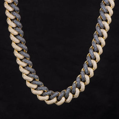 19mm Iced Two Tone Cuban Link Chain Midnight Blue-White