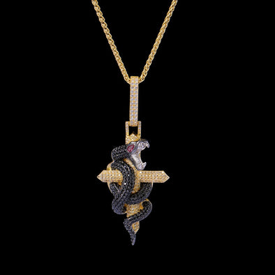 Pendentif Python Cross en Or 14K Iced