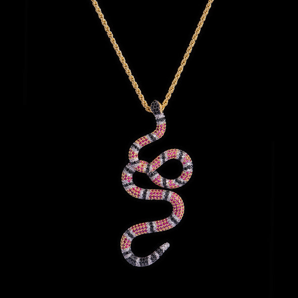 14K Gold Iced Twisted Snake Pendant