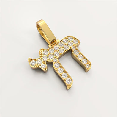 18K Solid Gold 0.096ctw Diamond Hebrew Chai Pendant
