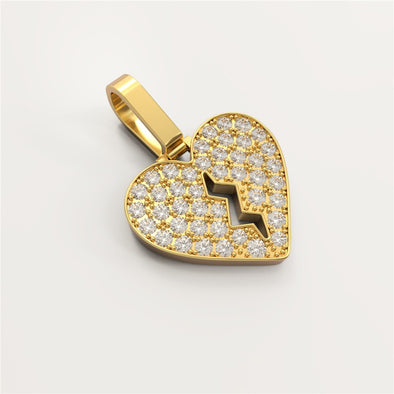 18K Solid Gold 0.168ctw Diamond Broken Heart Pendant