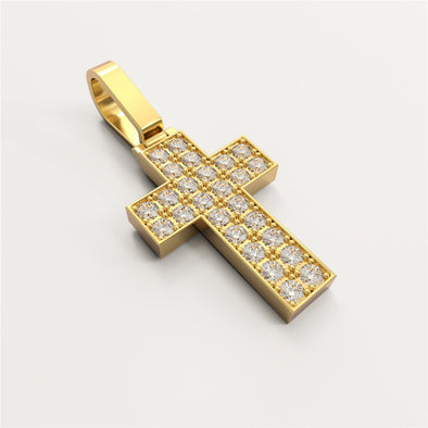 18K Solid Gold 0.112ctw Diamond Cross Pendant