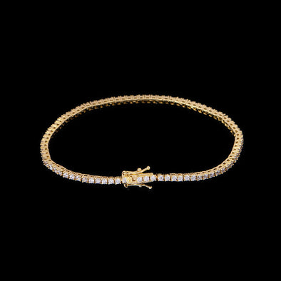 1.9mm 14K Gold Iced Tennis Bracelet