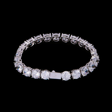 8mm White Gold Iced Tennis Bracelet
