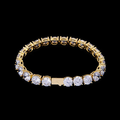 8mm 14K Gold Iced Tennis Bracelet