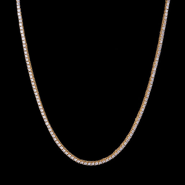3mm New 14K Gold Iced Tennis Chain