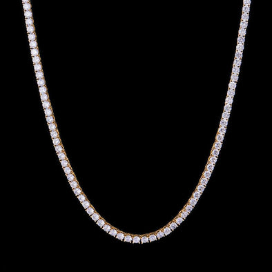 5mm 14K Gold Iced Tennis Chain