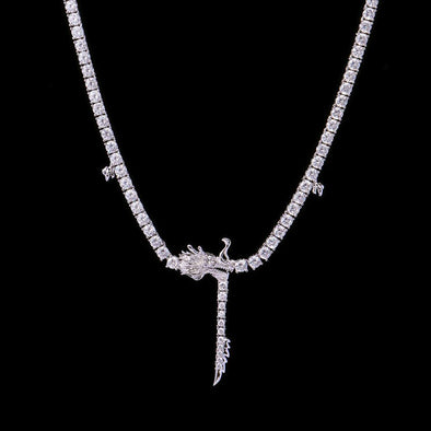 White Gold Chinese Dragon Tennis Chain