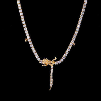 14K Gold Chinese Dragon Tennis Chain