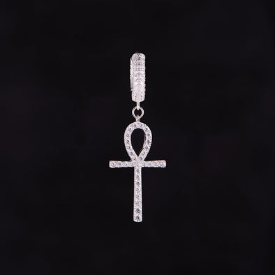 Iced Ankh Earrings in 925 Sterling Silver